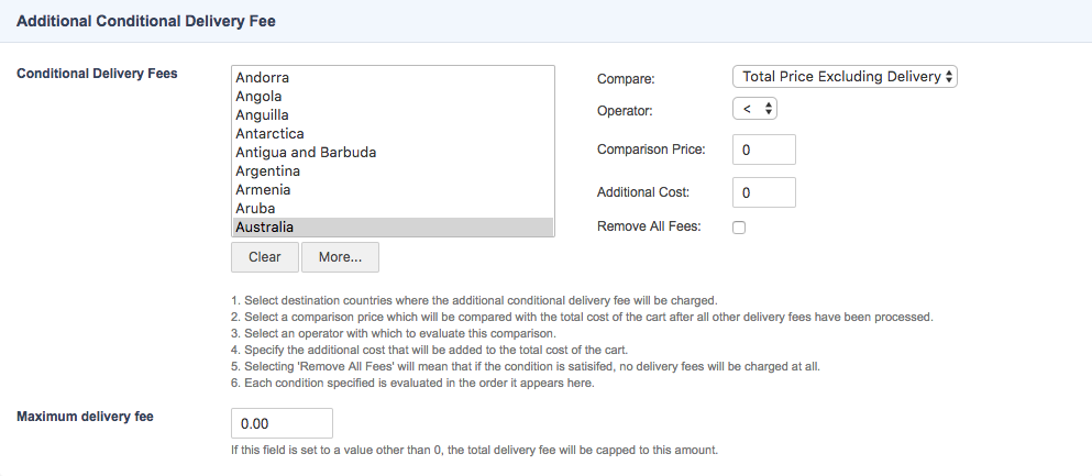 The Additional Conditional Delivery Fee Section