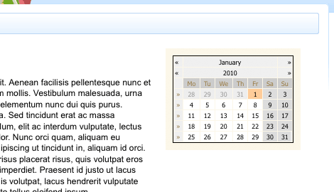 The Calendar on the Design of a Site