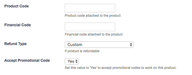 The uTransact fields for a Product
