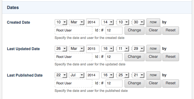 The Dates section of the Settings screen