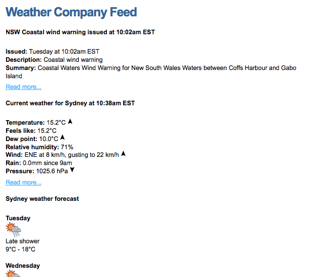 An example Weather Company Feed listed on an Asset Listing