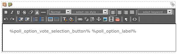 The WYSIWYG Editor on the Option List Format Bodycopy