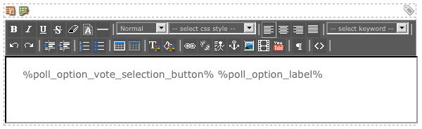 The WYSIWYG Editor on the Option List Format Bodycopy