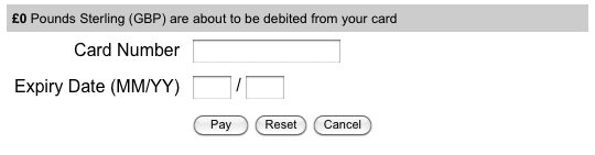 The default layout of the Datacash Payment Gateway
