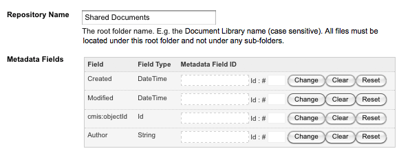 The Repository Name and Metadata Fields settings