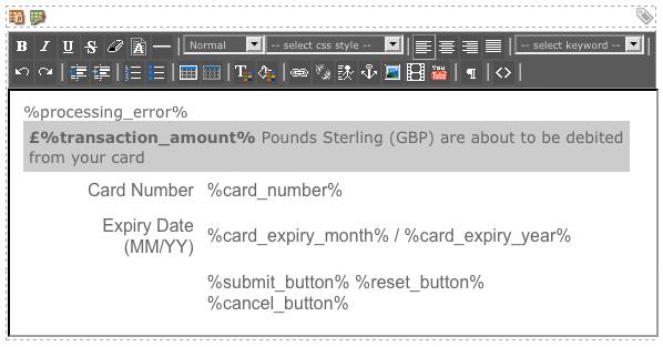 The WYSIWYG Editor on the Display Format Bodycopy