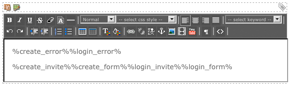 The WYSIWYG Editor on the Not Logged In Bodycopy