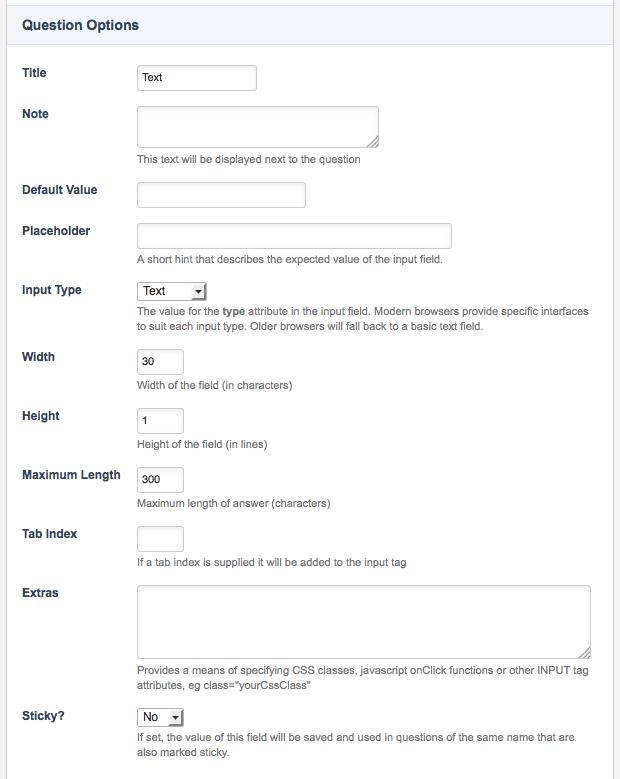 Text Question Type Custom Form Manuals Squiz Matrix Community