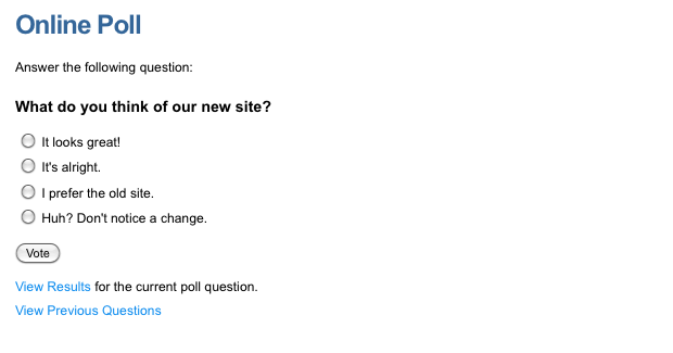 An example Online Poll (question)