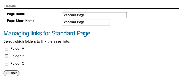 An example of a Link Manager Page in Simple Edit