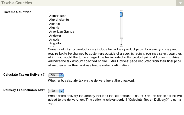 The Taxable Countries section of the Region Specific Options screen