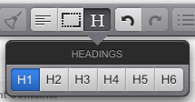 The Headings pop-up