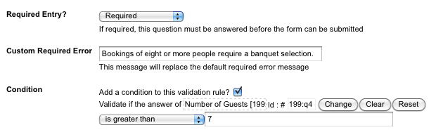 An example Condition on a Simple Validation Rule