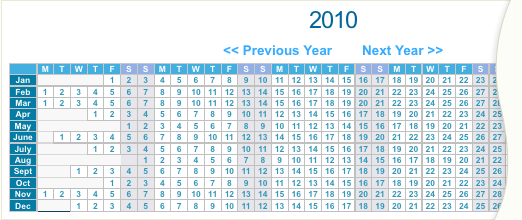 The Year View Calendar format