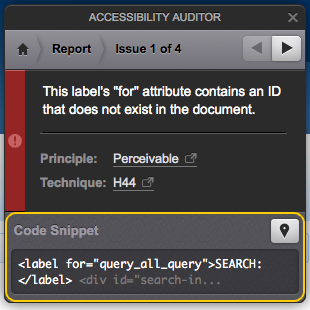 The Code Snippet section of the Accessibility Auditor