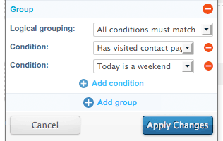 The Condition Group settings