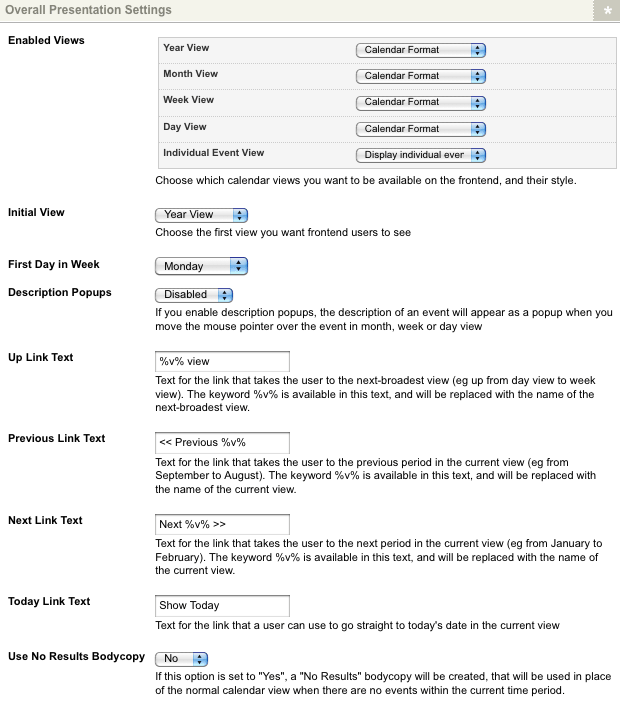 The Overall Presentation Settings section of the Details screen