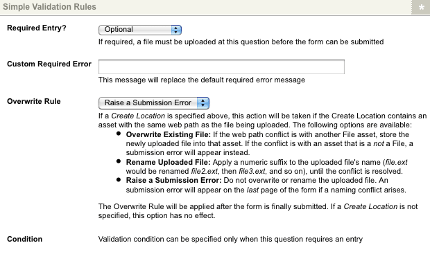 The Simple Validation Rules section for a File Upload question