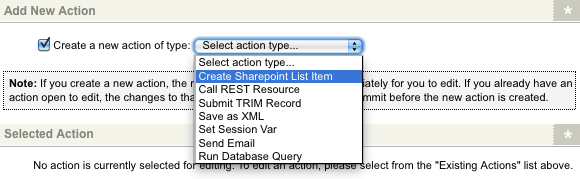 The Create Sharepoint List Item Submission Action