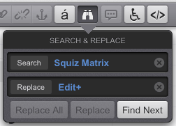 The Search & Replace pop-up