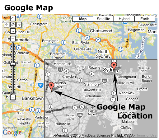 An example of a Google Map and Google Map Locations
