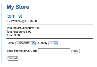 The Promotional Code input field on the Ecommerce Form Page