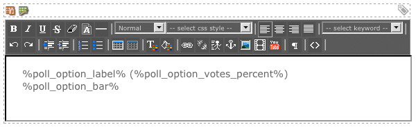 The WYSIWYG Editor on the Results List Format Bodycopy