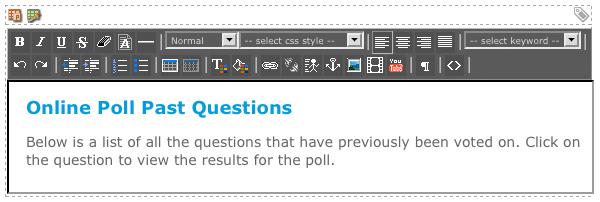The WYSIWYG Editor on the Past Questions Format Bodycopy