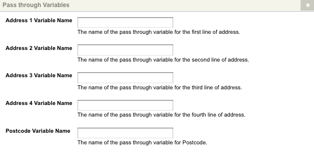 The Pass through Variables section of the Details screen