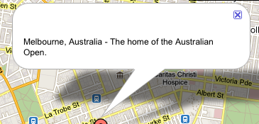The default layout of a Google Map Location