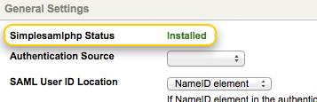 Installed SimpleSAMLphp Status