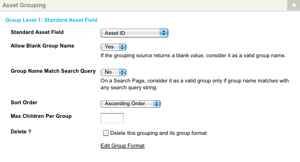 Grouping by Standard Asset Field