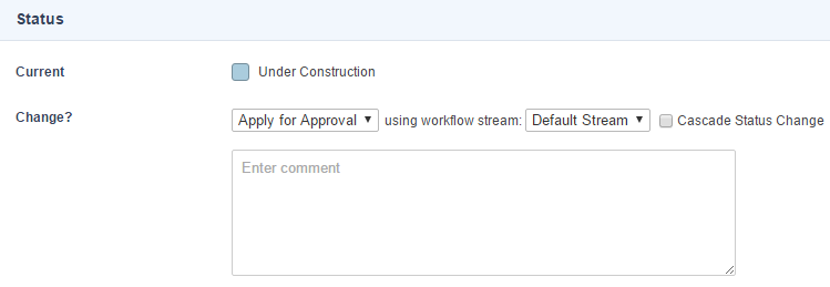 The Workflow Stream field in the Status section of an asset's Details screen