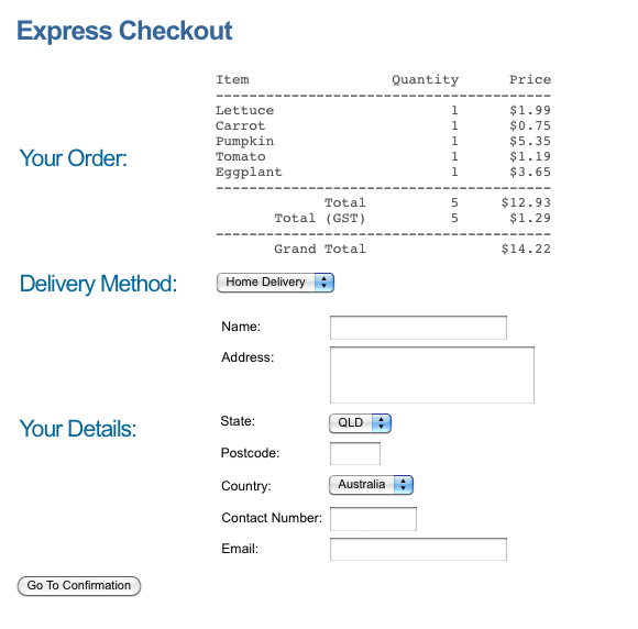 The new layout of the Checkout Page