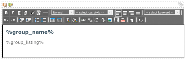 The WYSIWYG Editor on the Group Format Bodycopy