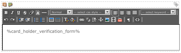 The WYSIWYG Editor on the Card Holder Verification Bodycopy