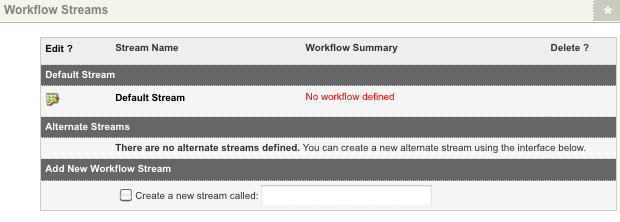 The Workflow Streams section of the Details screen of a Workflow screen