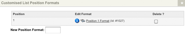 The Customised List Position Format section of the Display Formats screen