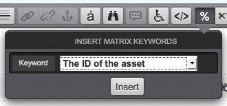 The Insert Matrix Keywords pop-up