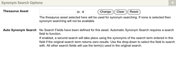 The Synonym Search Options section of the Details screen