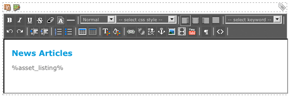 The WYSIWYG Editor on the Page Contents Bodycopy