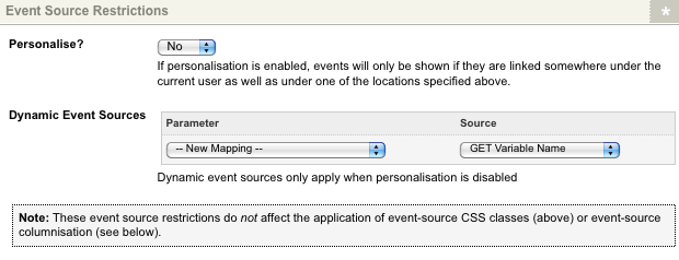 The Event Source Restrictions section of the Details screen