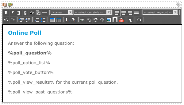 The WYSIWYG Editor on the Question Format Bodycopy