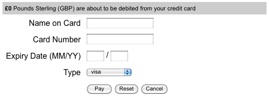 The default layout of the SagePay Payment Gateway