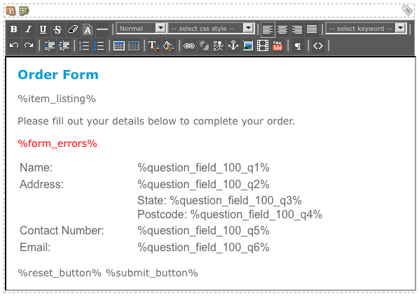 The WYSIWYG Editor on the Form Bodycopy
