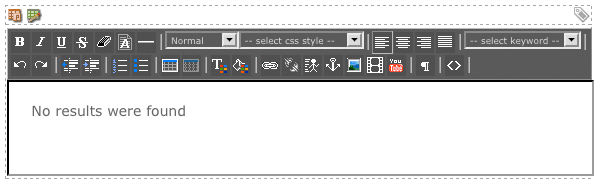 The WYSIWYG Editor on the Page Contents (no results) Format Bodycopy