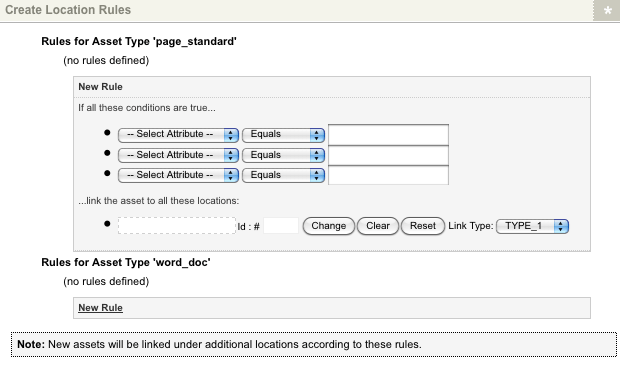 Additional fields in the Create Location Rules section of the Create Locations screen