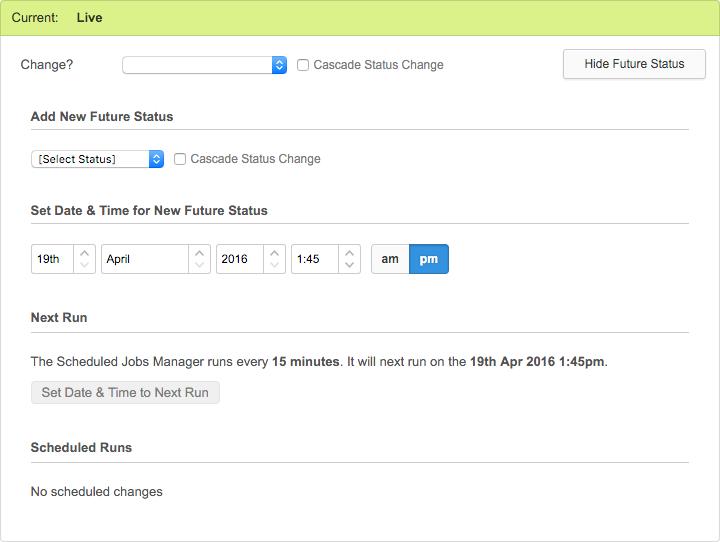 The Future Status settings