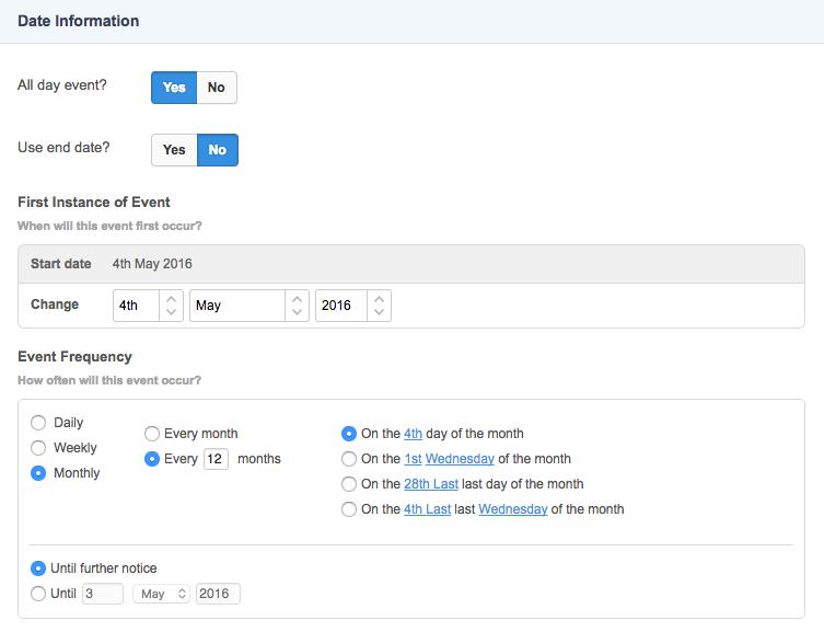 The Details Screen of a Recurring Calendar Event