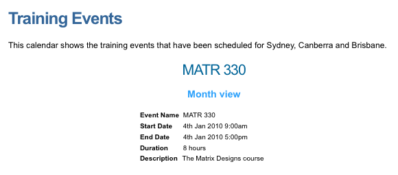 An example Event Details page